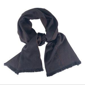 NWT Versace Wool Scarf Black Burgundy Brown